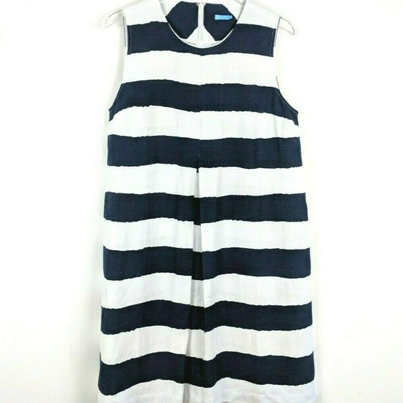 J. McLaughlin Dresses & Skirts - J. McLaughlin Striped Sleeveless Linen Dress L